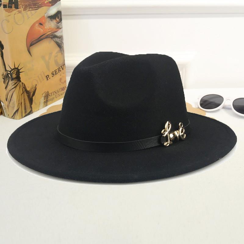Шляпа женская фетровая Федора LOVE с устойчивыми полями и ремешком из экокожи черная