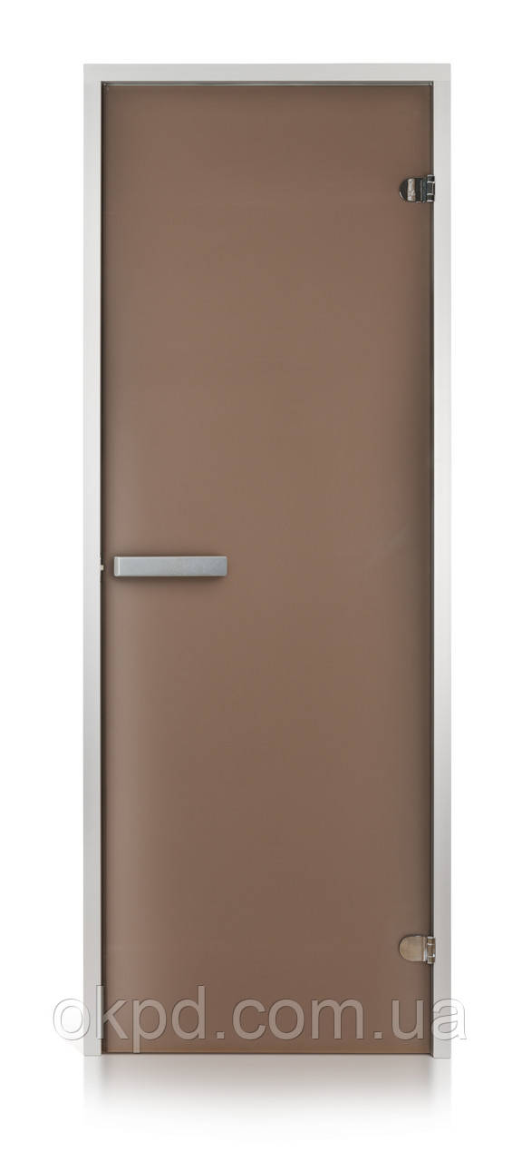Стеклянная дверь для хамама INTERCOM алюминий 80х200, матовая бронза