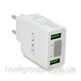 СЗУ CYKE HKL-USB39,110-240V, 2xUSB, 5V/2A, LED, White, Blister-box