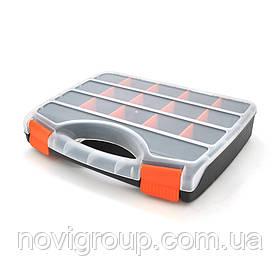 Пластмасовий переносний ящик для інструментів 60 х 250 х 310, 15 відділеннь