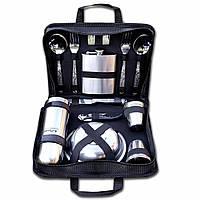 Туристический набор посуды для пикника на 6 персон (термос + фляга) из нержавеющей стали в сумке с ручками