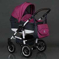 Коляска для детей Saturn с белой рамой, лен, серый с розовым SKL11-221466