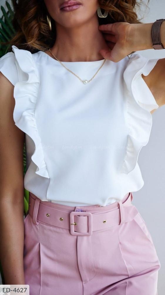 Блуза с воланами белая SKL11-259322