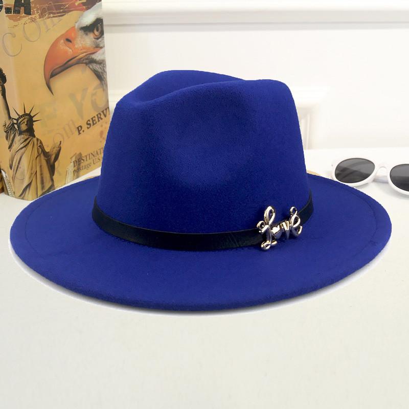 Шляпа женская фетровая Федора LOVE с устойчивыми полями и ремешком из экокожи синяя (электрик)
