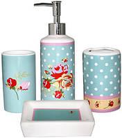 """Набор аксессуаров """"Винтаж"""" для ванной комнаты 4 предмета, керамика"""