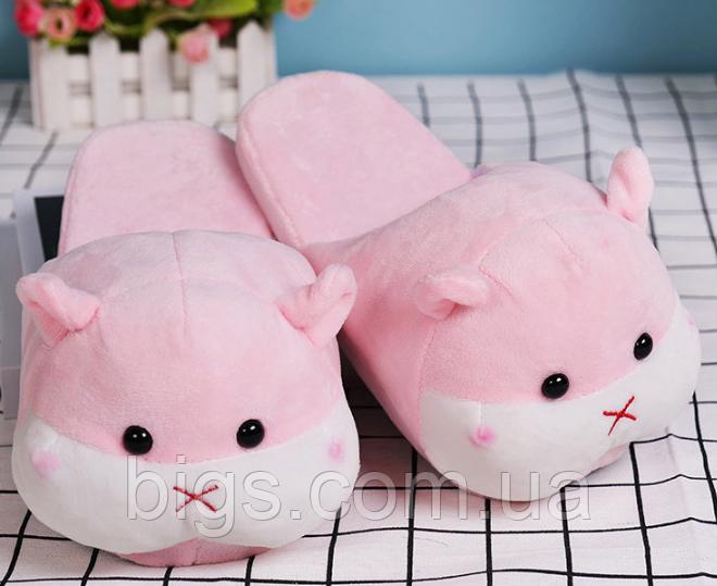 Тапочки-игрушки Хомячки женские розовые,35-38