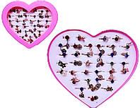 """Кільце дитяче 456-5 метал, """"кольорові Стрази з підвіскою"""" коробка-серце уп36"""