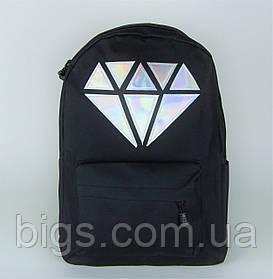 Черный городской рюкзак с кристаллом