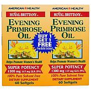 Масло Вечерней Примулы, Evening Primrose Oil, American Health, 1300 мг, 2 баночки по 60 капсул