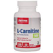 L-карнитин 500, 500 мг, L-Carnitine, Jarrow Formulas, 50 вегетарианских капсул