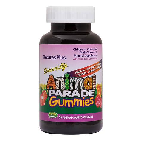 Комплекс мультивитаминов для детей Animal Parade со вкусом вишни, апельсина и винограда, Nature's Plus, 50, фото 2
