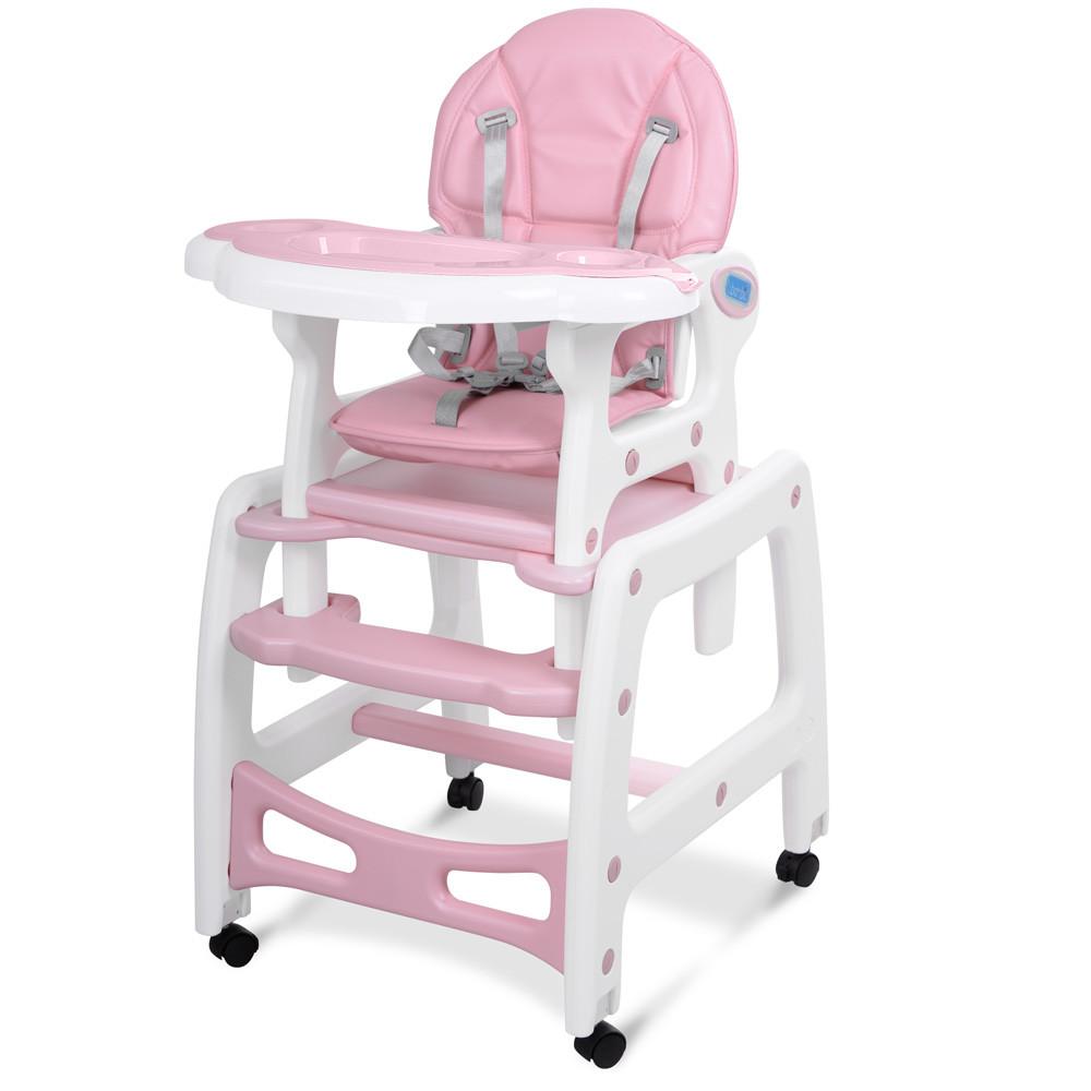 Стульчик для кормления трансформер качалка Bambi M 1563-8-1 розовый **