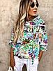 Стильный женский костюм прогулочный с трендовым принтом, размер S, M, L, креповая костюмка, двухнитка, фото 2
