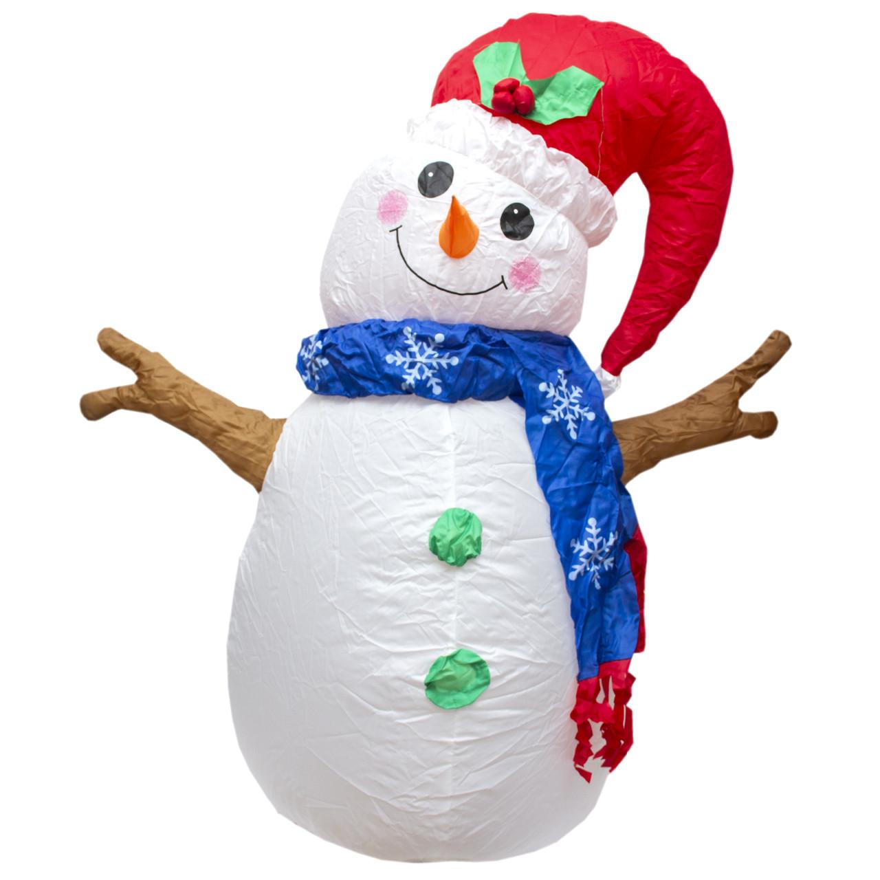 Уличная декорация Надувной снеговик, бело-красный, 120 см (350865)