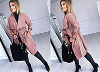 Женское осеннее пальто на запах пудра