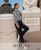 Деловой комбинезон с брюками и верх - рубашка в полоску, застегивается на кнопки спереди с 50 по 60 размер, фото 3