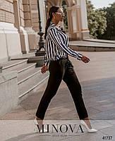 Деловой комбинезон с брюками и верх - рубашка в полоску, застегивается на кнопки спереди с 50 по 60 размер, фото 5