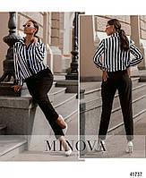 Деловой комбинезон с брюками и верх - рубашка в полоску, застегивается на кнопки спереди с 50 по 60 размер, фото 4