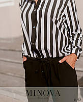 Деловой комбинезон с брюками и верх - рубашка в полоску, застегивается на кнопки спереди с 50 по 60 размер, фото 6