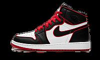 """Баскетбольные кроссовки Air Jordan 1 Retro """"Bloodline"""" РЕПЛИКА ААА, фото 1"""