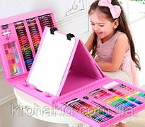 Набор для рисования и творчества в чемоданчике с мольбертом Super Mega Art Set 208 предметов - розов