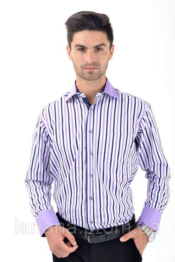 Рубашка 9022-3 цвет Бело-сиреневый
