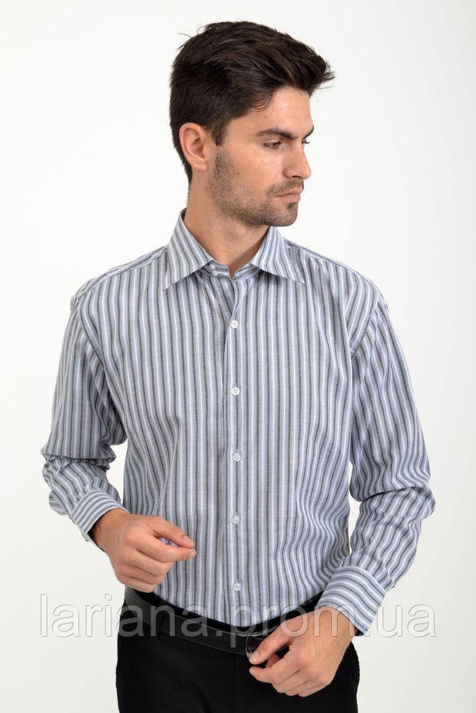 Рубашка 25#LS цвет Серо-белый,полоска