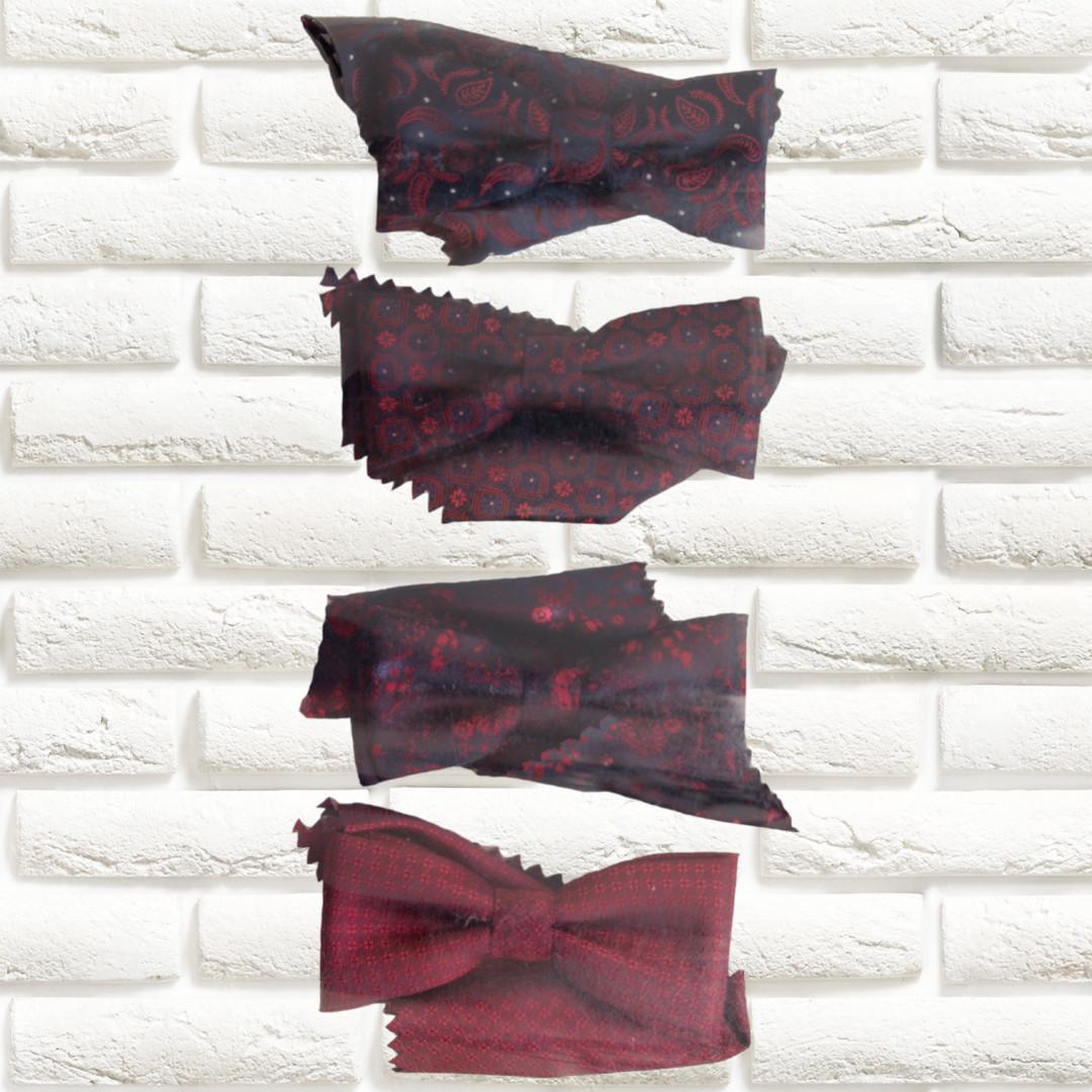 Галстуки-бабочки  для мальчиков Польша бордовые с платком в нагрудный карман