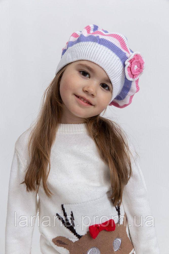 Шапка детская 126R005 цвет Розово-белый