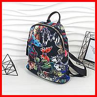 Стильный, городской, яркий женский рюкзак / черный с цветами