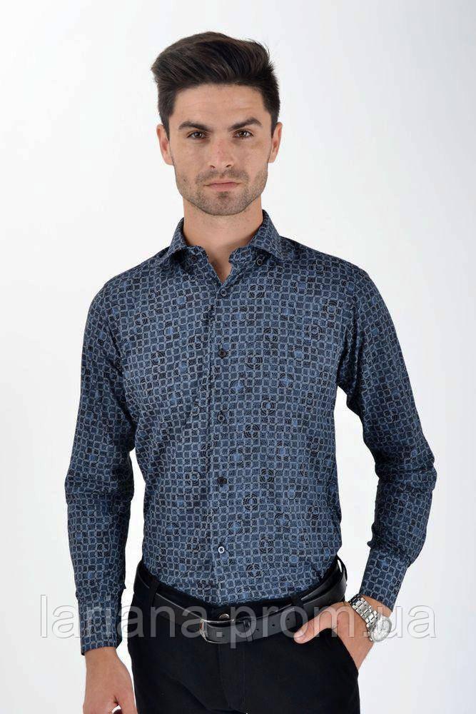 Рубашка 0820-1 цвет Сине-серый