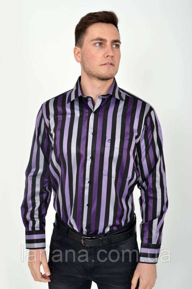 Рубашка 113ROM88-2 цвет Черно-сиреневый