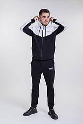 Мужской спортивный костюм с двухцветной толстовкой на молнии (Черный)