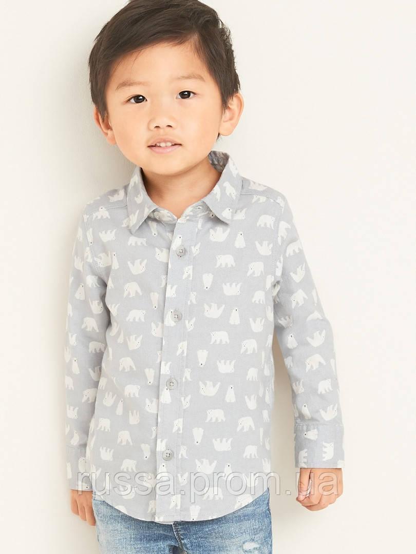 Поплиновая детская рубашка с медведями Олд Неви для мальчика