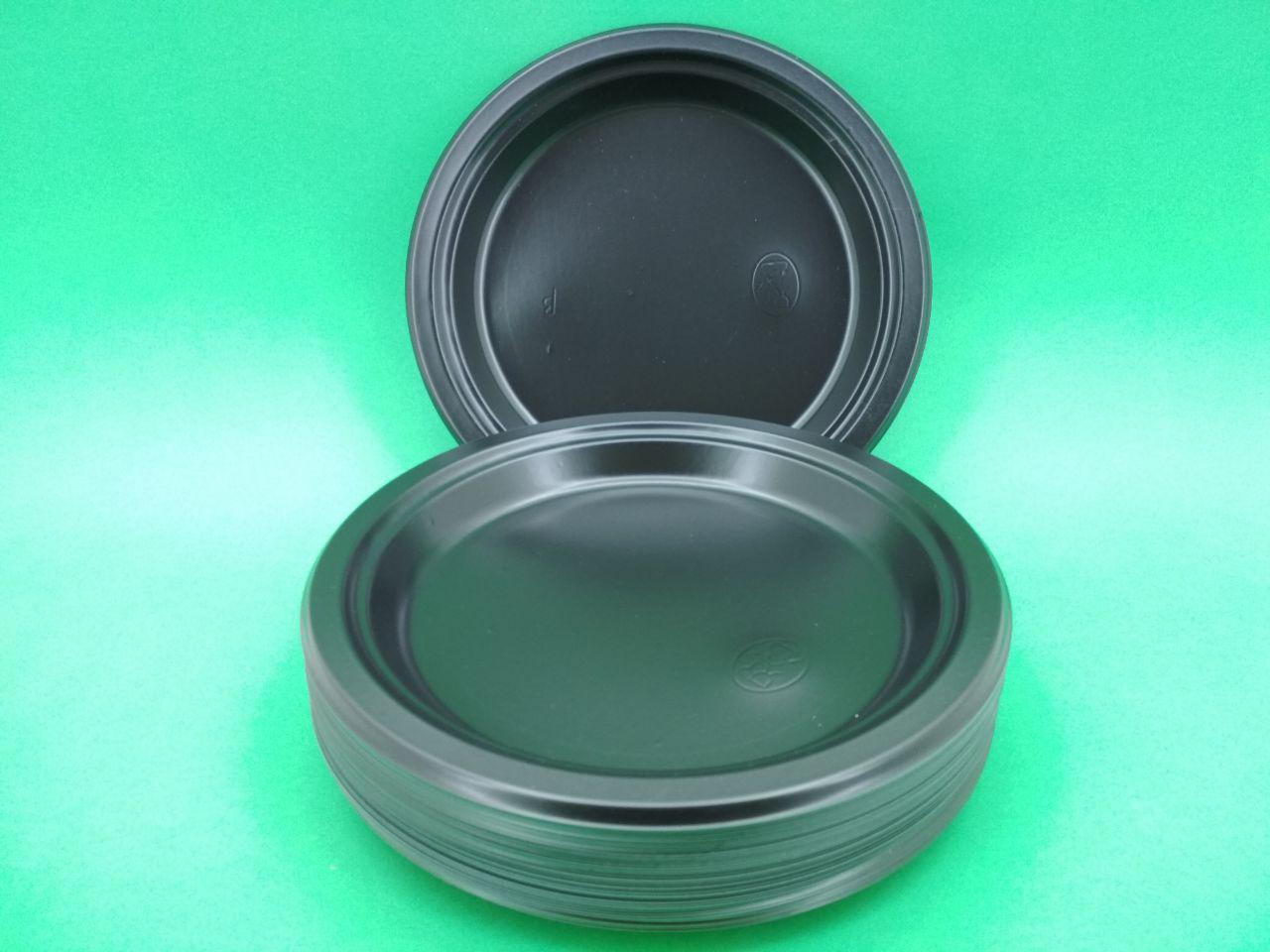 Тарілка одноразова пластикова 240 mm Чорна (50 шт)