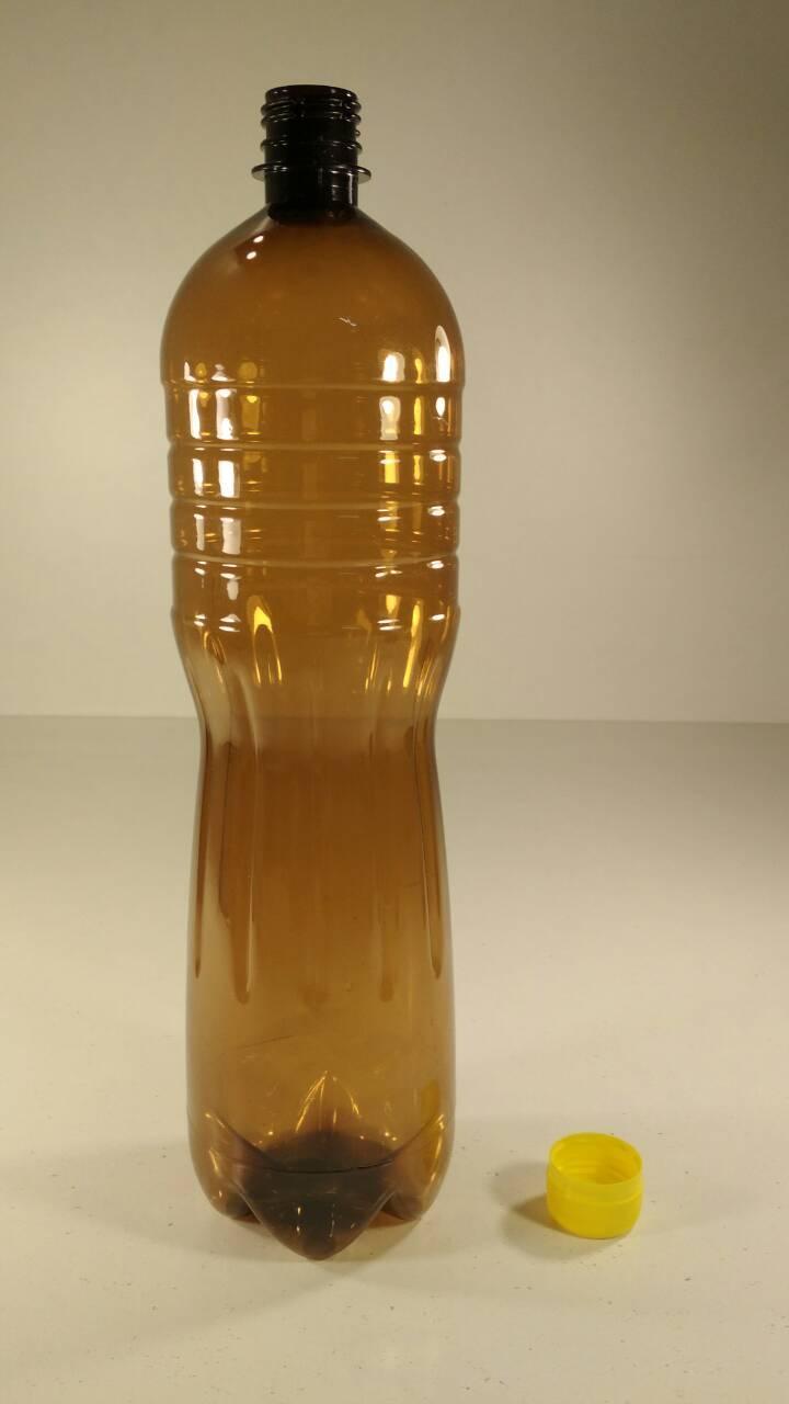 Бутылка ПЭТ 1,5 литра коричневая с крышкой  (100 шт)
