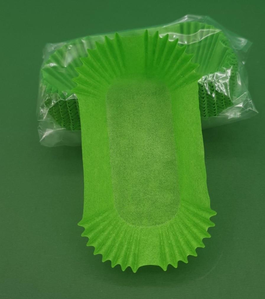 """Тартолетка для кексів""""Прямокутна зелена""""(80*35*30,5) (100шт)/П-8/ (1 уп.)"""