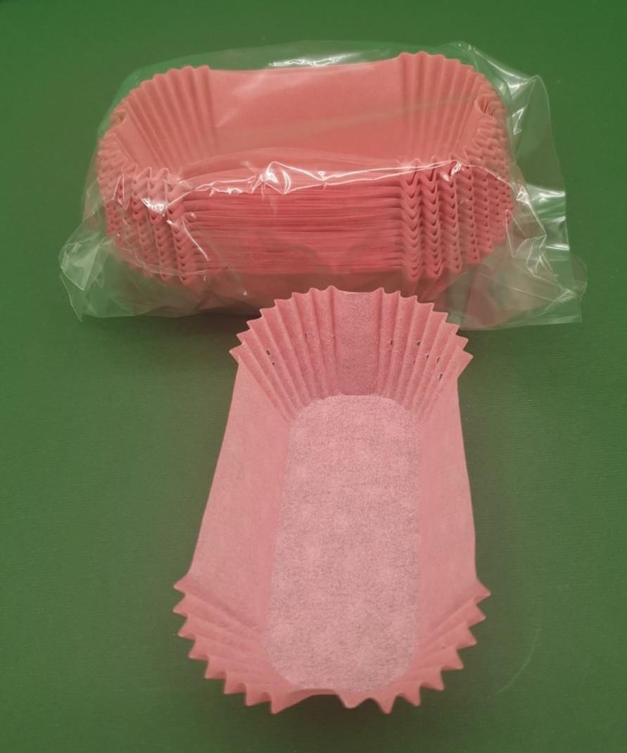 """Тартолетка для кексів""""Прямокутна рожева""""(80*35*30,5) (100шт)/П-8/ (1 уп.)"""