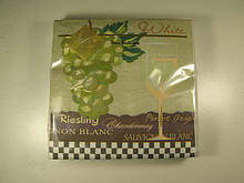 Салфетка бумажная декоративная 3-х слойная (ЗЗхЗЗ, 20шт) Luxy  Белое вино