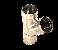 Тройник угол 45, нержавейка, толщиной 0,8 мм, диаметр 220мм