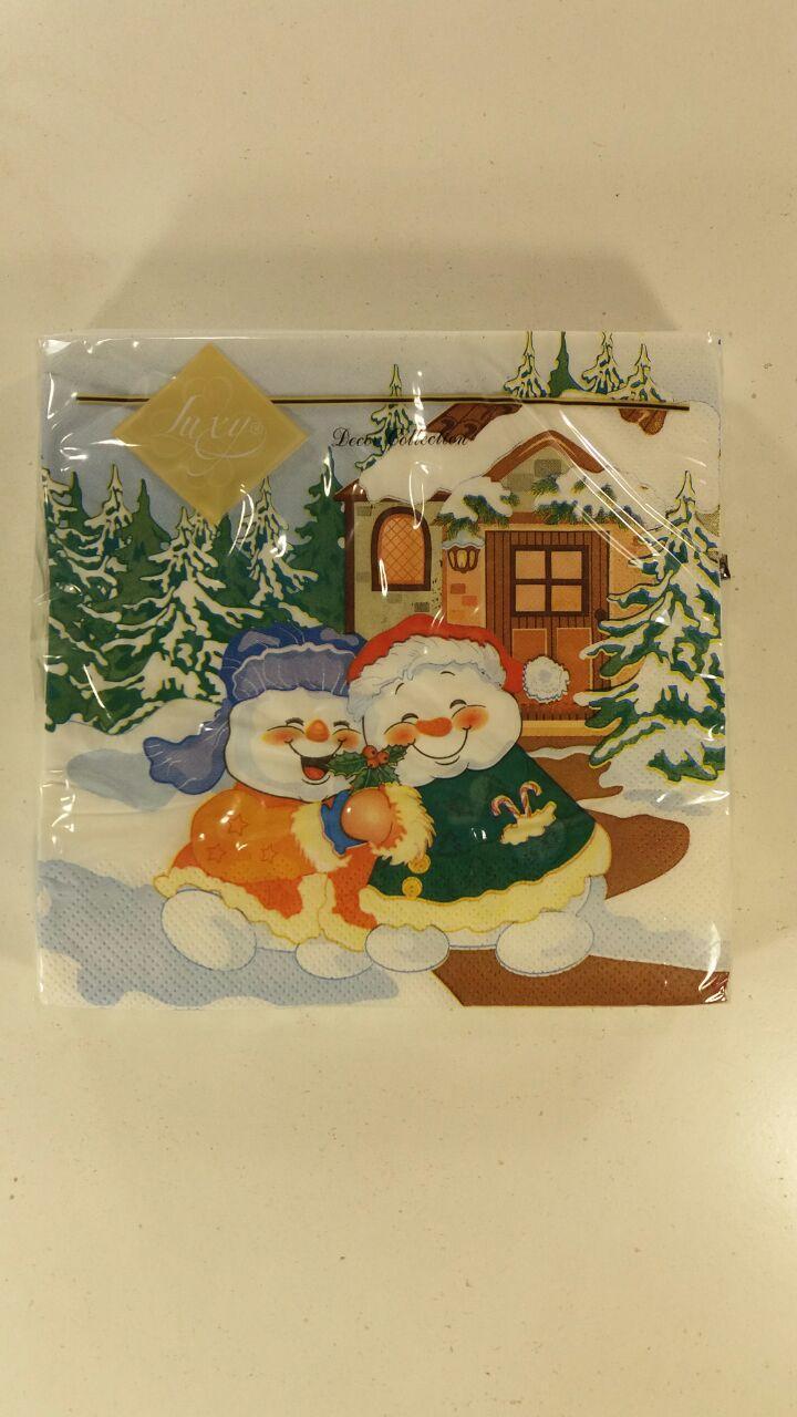 Салфетка для декупажа ЗЗхЗЗ 20шт Веселые снеговики