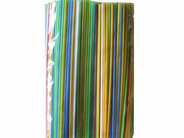 Трубочка Соломка алкогольная прямая d3-26,5см Ассорти (500 шт)
