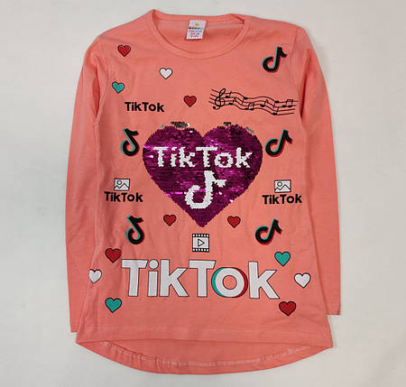 Детская кофта реглан хлопковый для девочки Tiktok тикток персиковая 8-9 лет, фото 2