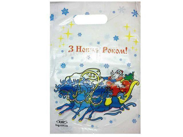 """Пакет с прорезной ручкой """"Дед Мороз на санях"""" ХВГ 100шт"""