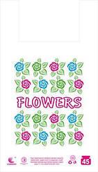 """Пакет майка з малюнком 34см 58см Квіти """"Комсерв"""" (100 шт)"""
