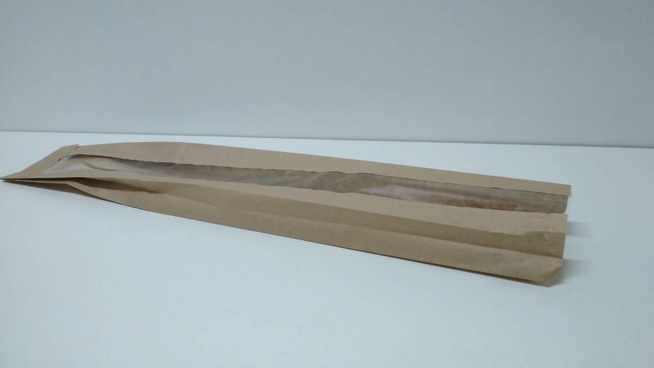 Пакет бумажный с окном 9*59 см коричневый 1000 шт