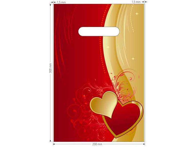 Пакет полиэтиленовый типа банан 20см 30см День Св.Валентина (50шт)