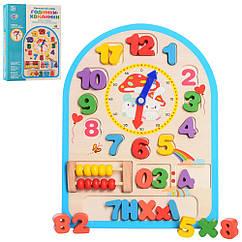 Деревянная игрушка Часы MD 1050 счеты, цифры