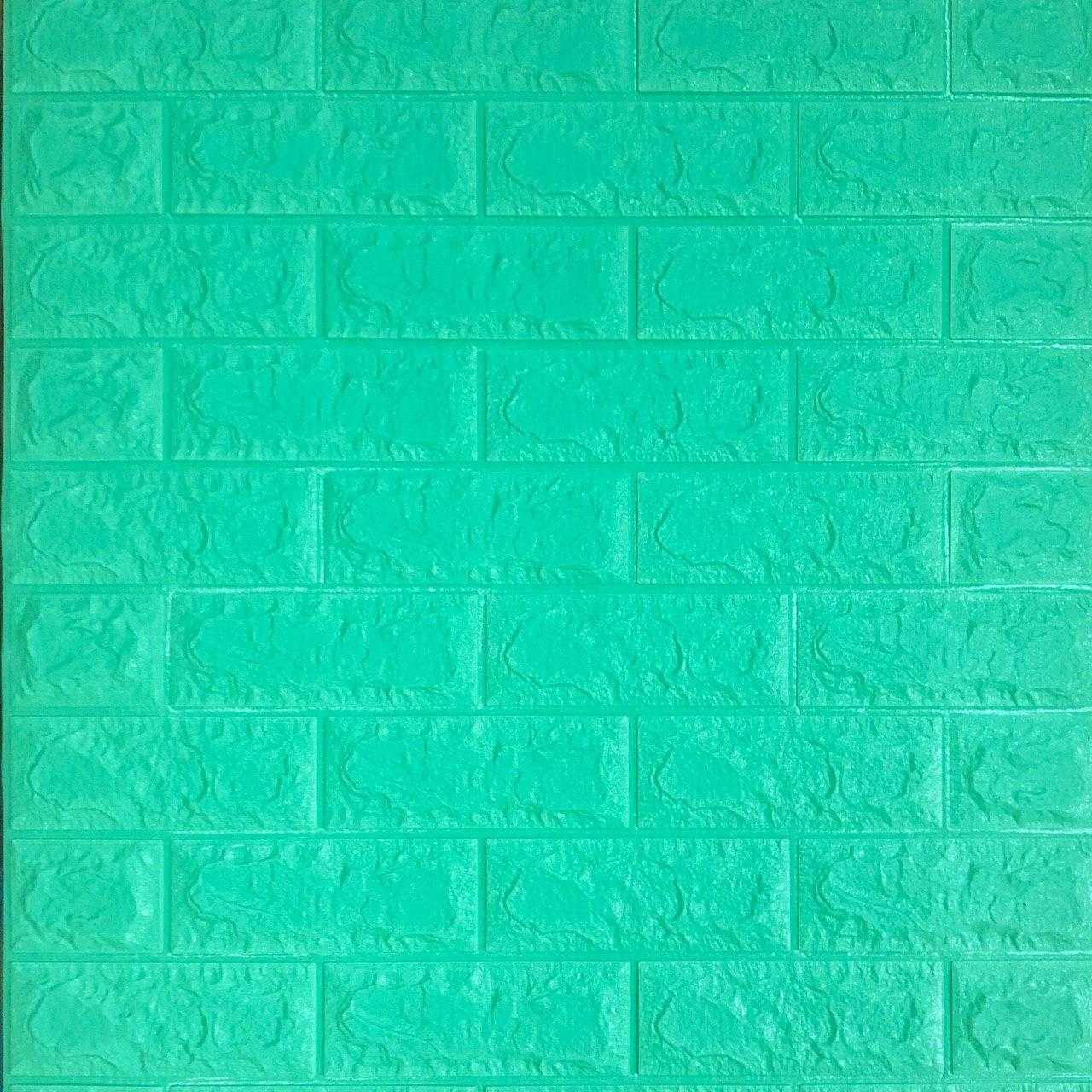 3д панель стіновий декоративний М'ята Цегла (самоклеючі 3d панелі оригінал) зелений 700x770x5 мм