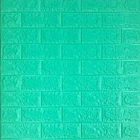 3д панель стіновий декоративний М'ята Цегла (самоклеючі 3d панелі оригінал) зелений 700x770x5 мм, фото 1
